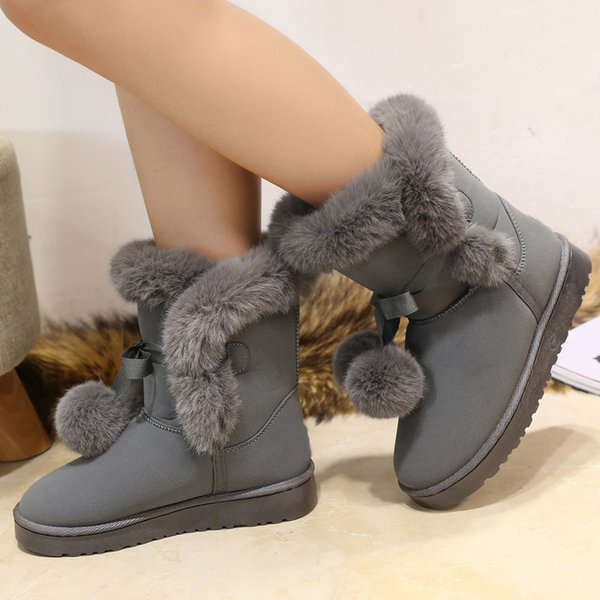 Women boots platform flat suede shoes 2018 trendy plush lace-up butterfly knot solid pink/gray/black winter snow boots744