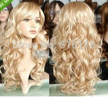 New Lady Womens Fashion Sexy Long wavy curly Blonde Party Hair Wig Lady Girls Cosplay Peluca Products WIGS