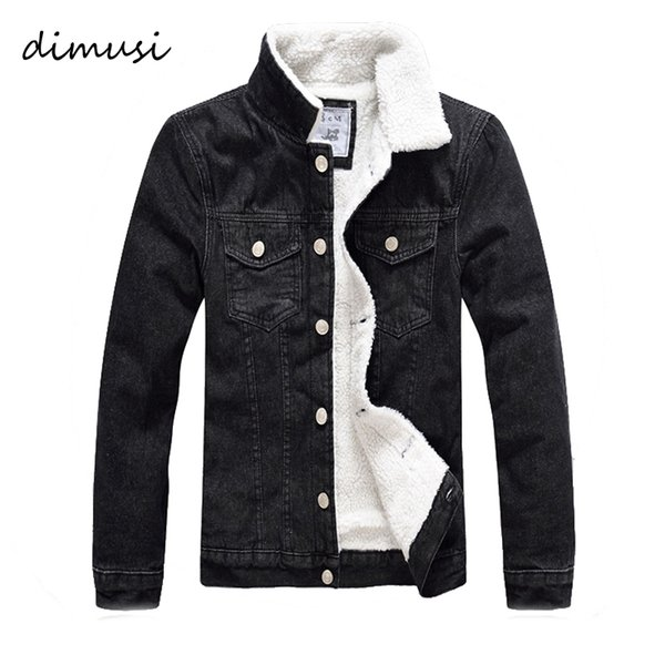 dimusi men jacket and coat trendy warm fleece denim jacket 2018 winter fashion mens jean outwear male cowboy 5xl,ta126