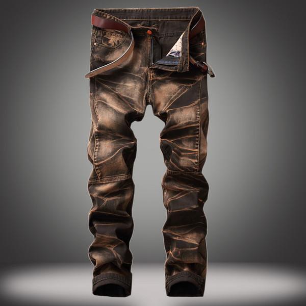 Jeans Quatro cores dos homens Calças Old Straight-tubo Retro Jeans Homens Plus Size linha reta Masculino Distressed Denim Biker