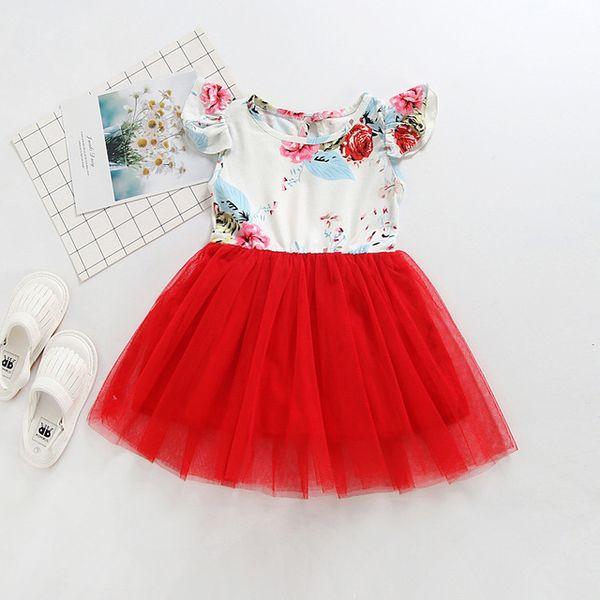 Summer Baby Girls Short Sleeve Floral Print Patchwork Mesh Tutu Princess Dress Children Kids Cute Dresses vestido infantil