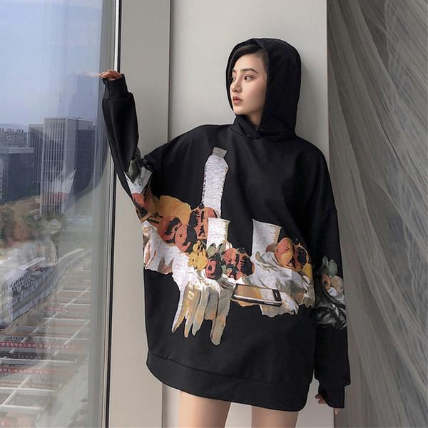 Cheerart Lange Hoodies Frauen Sweatshirt Übergroßen Hoodie Schwarz Fleece Winter Hoodie Sweat Femme Harajuku Streetwear