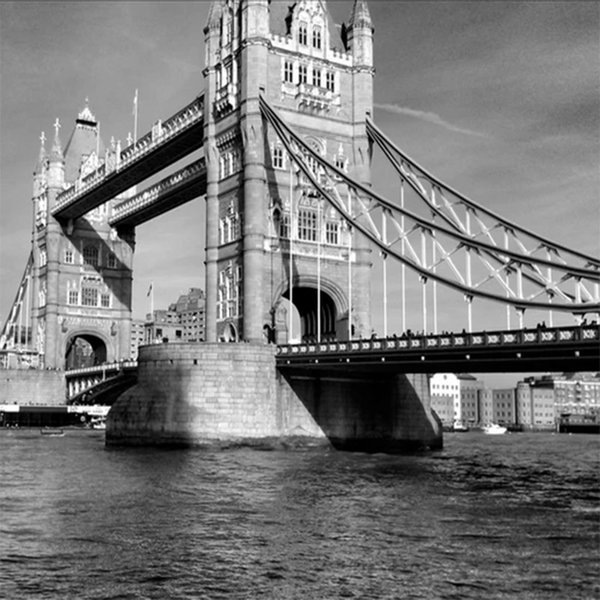 Custom Mural Wallpaper London Tower Bridge Vintage Black White