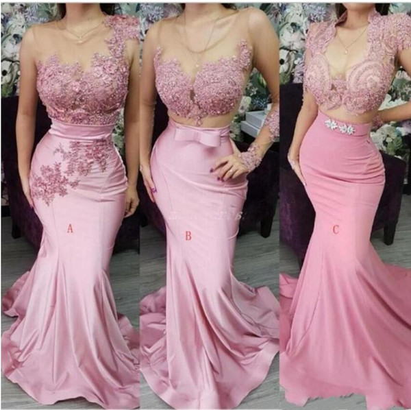 Pink African Long Mermaid Bridesmaid Dresses 2019 Illusion Lace Appliques Mixed Styles Sexy Maid Of Honor Gowns Wedding Guest Dresses
