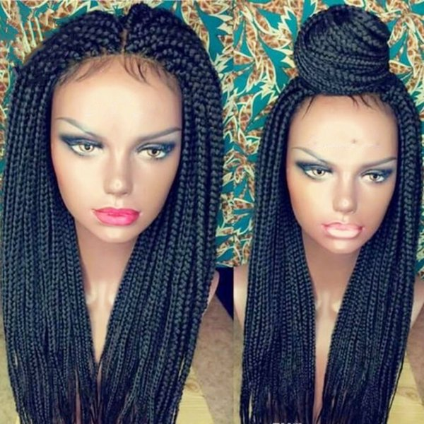 Free Shipping Synthetic Lace Front Wig Black Micro Braided Wigs with Baby Hair for Black Women Heat Resistant Fiber Box Braid Wig Glueless