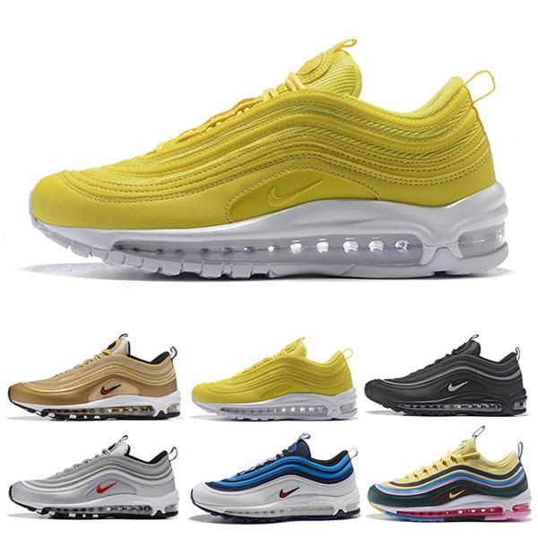 nike air max 97 airmax Nouvelle arrivée avec la boîte des chaussures de course des femmes des hommes Coussin Silver Gold Sneakers Athletic Designers Sports chaussures de plein air