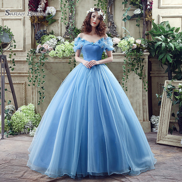 top popular 2020 Princess Lace Up Blue Ball Gown Beaded Off Shoulder Tulle Sleevless Plus Size Bridal Evening Gowns SQS037 Prom Dress 2020