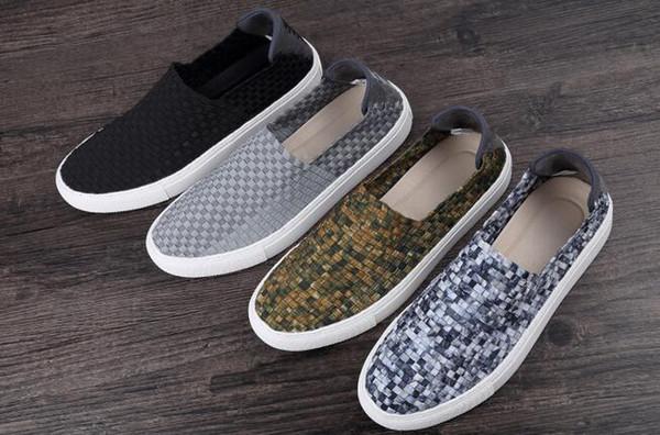 дышащий ретро повседневная мужская обувь полые тканые скейтборд обувь ступни ленивый обувь популярный стиль