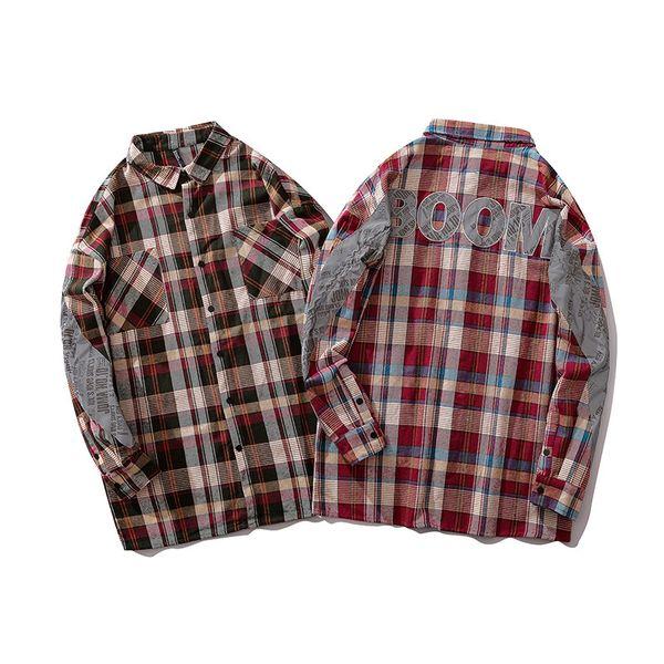 # 1420 3M Светоотражающая лоскутная рубашка в клетку Человек с длинными рукавами Повседневная хип-хоп рубашка для мужчин Уличный воротник с длинным рукавом Мужская рубашка