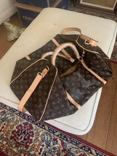 2019 uomini duffle donne borsa da viaggio borse borsa da viaggio di lusso bagaglio a mano degli uomini dell'unità di elaborazione borse in pelle di grande sacco per cadaveri trasversale totes 55 centimetri 14540