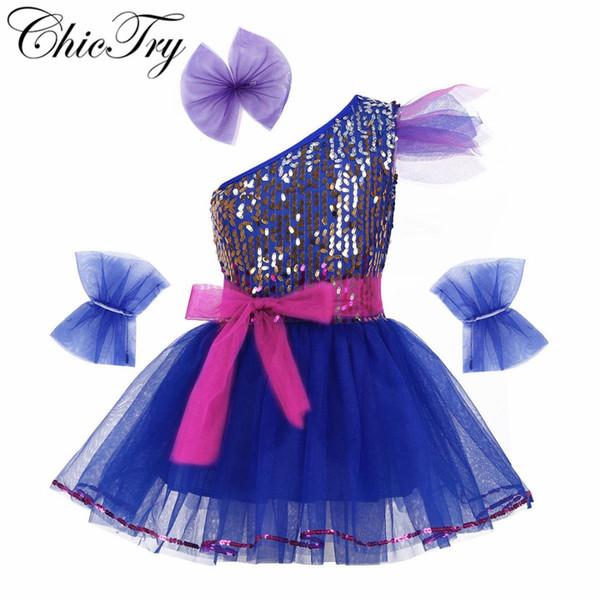 Çocuklar Kızlar Caz Giyim Kostüm Kıyafet Sparkly Sequins Örgü Elbise Hairclip Bileklik ve Kemer ile Modern Dans Elbise için Set