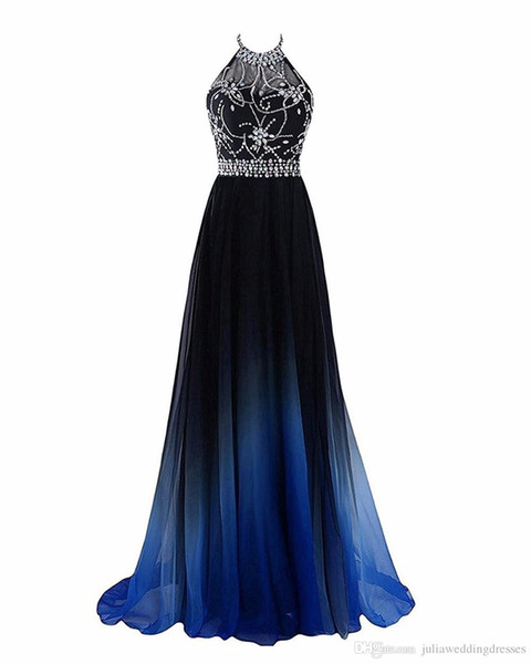 Halter Gradient Prom Dresses with Beading Low Corset Back Flowy Chiffon Ombre Evening Party Gowns with Brush Train Custom Made Forma Wear