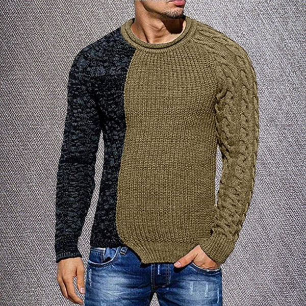 Men's Fashion Solid Color Autumn Knit O-Neck Long Sleeve Spliced Sweaters Casual Slim Fit Pullover Tops 2019 New