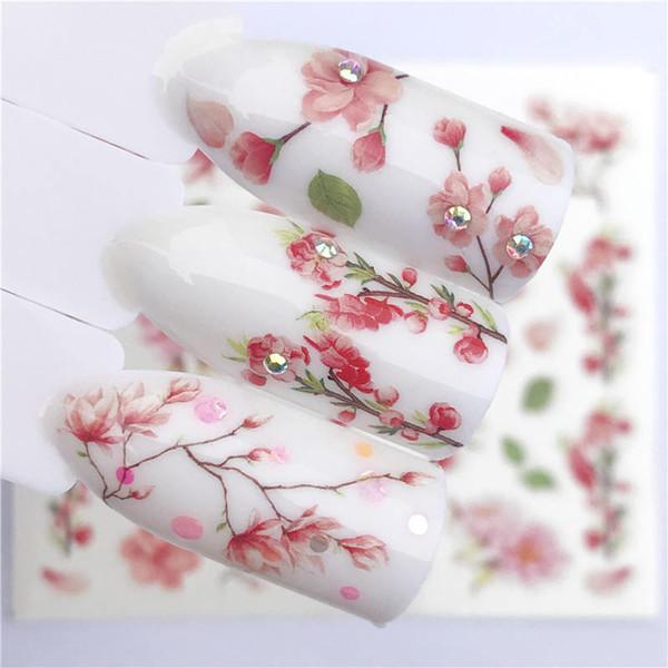 1 STÜCK Rosa Blütenblätter / Blumen / Grüne Blätter Wassertransfer Aufkleber Nail art Decals DIY Mode Wraps Tipps Maniküre Werkzeuge