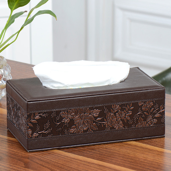 Leather Tissue Box Rectangle Square Pen Remote Storage desk organizer Paper Napkin Towel holder dispenser cover cases