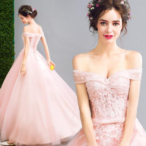 Long pink off the shoulder sweat lady girl women princess bridesmaid banquet party dress gown free