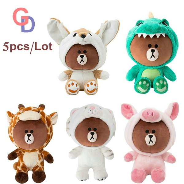 Korea Brown Bear Plush Toys Dinosaur Tiger Dog Giraffe Pink Pig Dressing Cos Creative Stuffed Animals for Baby Boy Girl Birthday