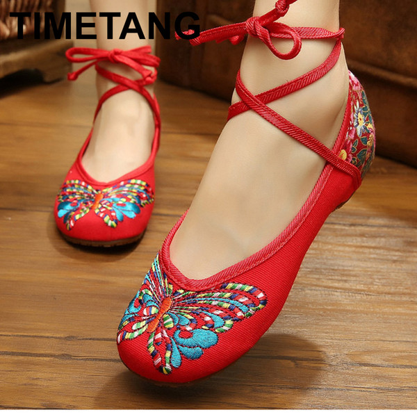 Shoes TIMETANG 2019 New Butterfly Printed Ethnic Ankle Strap Low Increasing Heels Female Casual Lace Up Cotton Fabric Ladie E278