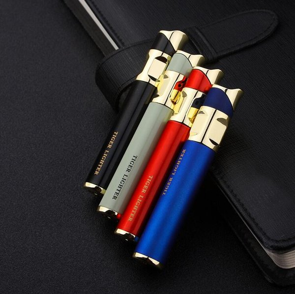 cigarette Round tiger lighter Cigar butane Flame Smoking lighters 4colors Accessories No Gas also offer usb torch jet lighter