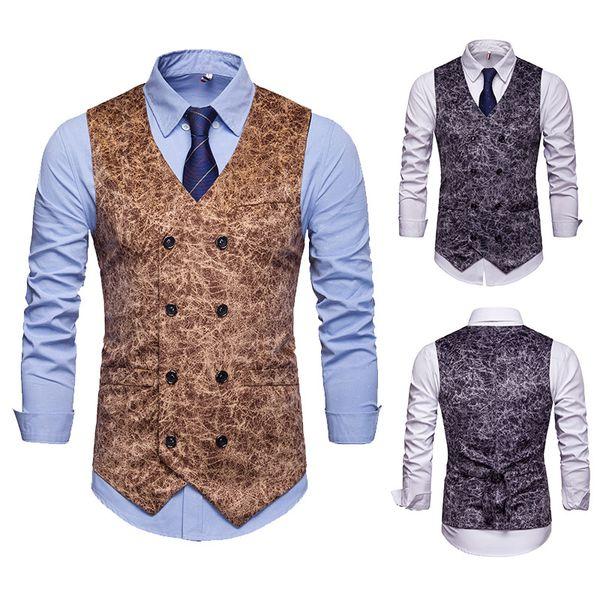 Mens Vest Европейская версия Leopard Print Lounge Suit Jacket Business Vest Жилет для мужчин