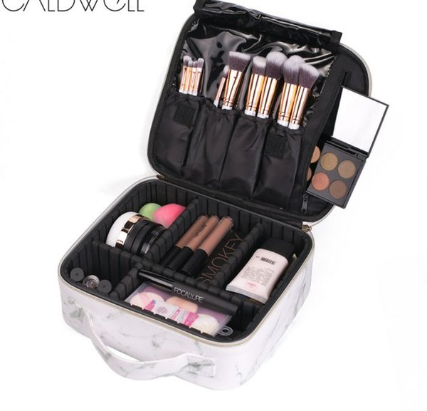 9e25439ca700 2019 Big Nail Tool Set PU Leather Waterproof Cosmetic Bag Travel Storage  With Adjustable Padded Divider Marble Makeup Cosmetic Bag With Handle From  ...