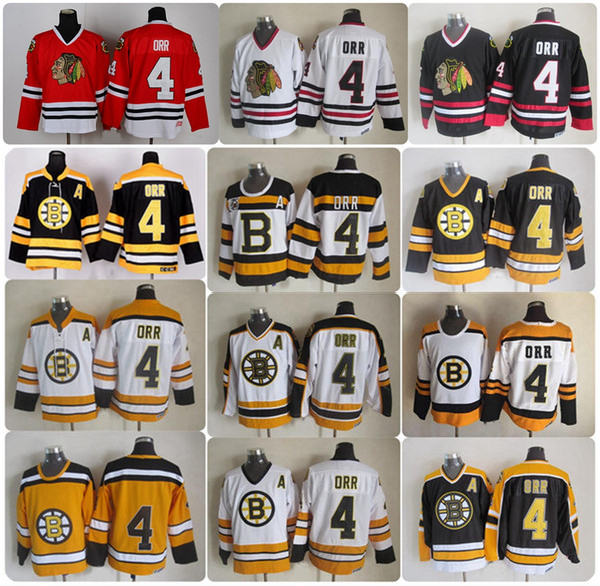Herren Bobby Orr Boston Bruins Chicago Blackhawks Schwarz Weiß Rot Gelb 75. Weiß Vintage 4 Bobby Orr Bruins Hockey Trikots