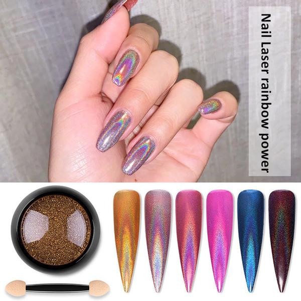 best selling 3D Holographic Nail Laser Powder Rainbow Nail Art Glitter Chameleon Chrome Powder Pigment Manicure Nail Gel Polish Glitter Dust