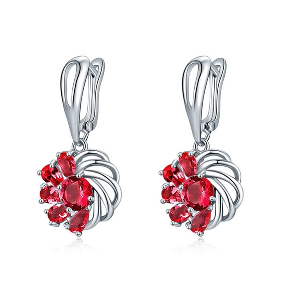 Fashion creative half-withered flower earrings Ms. Crystal simple temperament wild earrings jewelry wholesale 5-ER0576