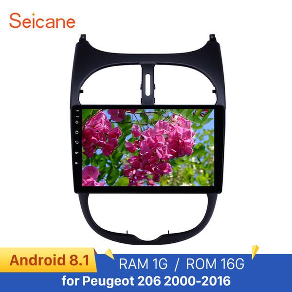seicane 9'' audio aux gps autoradio hd touchscreen android 8.1 car radio for 206 2000-2016 wifi support carplay dab+ car dvd