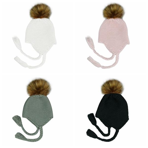 Miúdos bonitos Fur Pompom Beanie Baby Hat Crochet feito malha de lã Cap Inverno Quente Pom Pom Cabelo Bola Chapéus Bonnet MMA2372