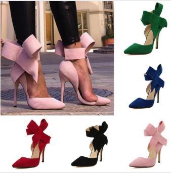 Zapatos al por mayor-Tallas grandes para mujeres Big Bow Tie Pumps 2019 Butterfly Stiletto puntiagudo zapatos de mujer Tacones altos Suede Zapatos de boda Zapatos De Mujer