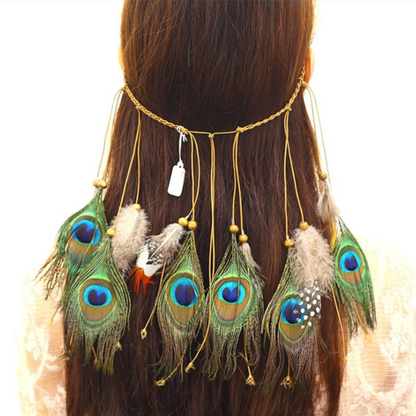 Nueva bohemio Peacock Feather Hairband moda Hippie viento nacional diadema mujeres cabeza accesorio 3 colores al por mayor