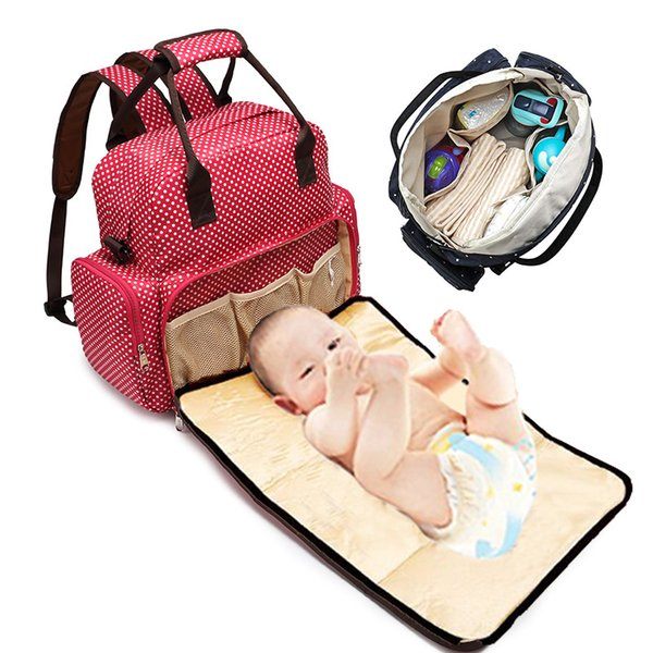 Mommy Bags Polka Dot Mother handbag Multifunzione Pannolini Maternity Zaini Outdoor Borse da viaggio infermieristiche ad alta capacità dot stampa tote B11