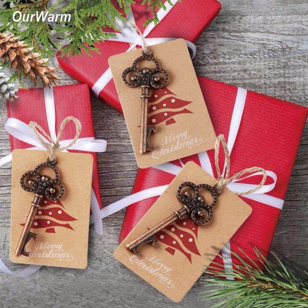 Ourwarm 50 set Christmas Tree Decorations Bottle Opener+ Santa Gift Tags Christmas Pendant Drop Ornaments Diy Craft