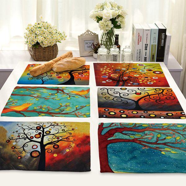 Cartoon Gemalte Bäume Muster Geschirr Pad Esstisch Matte Wärmedämmung Tischsets Baumwolle Leinen Stoff Schüssel Coaster
