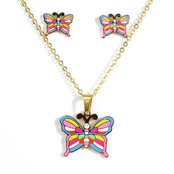 butterfly pendant necklace earrings set suitable for ladies and children titanium steel Cartoon necklace jewelry
