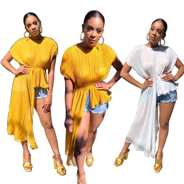 2019 Nuevos Pliegues Irregulares Mujeres Verano Camisetas 2019 Moda Manga Corta Floja Ocasional Blusa Elástica Cintura Tops Elegantes Amarillo Blanco