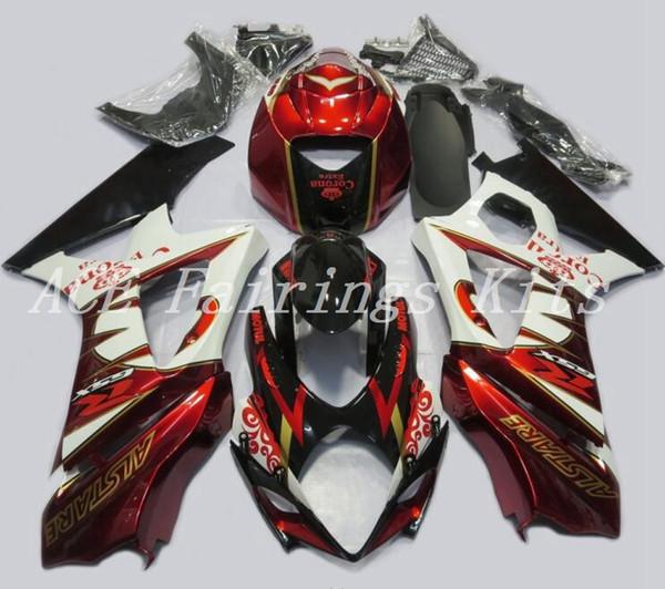 Высокое качество новый ABS мотоцикл обтекатели комплекты подходят для Suzuki GSXR1000 K7 2007 2008 07 08 комплект кузова на заказ обтекатель темно-красный белый