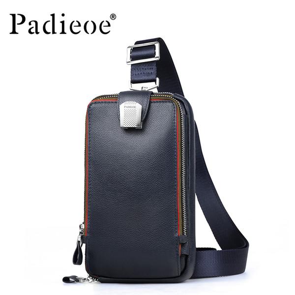 PADIEOE omuz çantası erkek deri erkekler için crossbody çanta hakiki deri göğüs messenger çanta erkekler yüksek kalite packMX190907