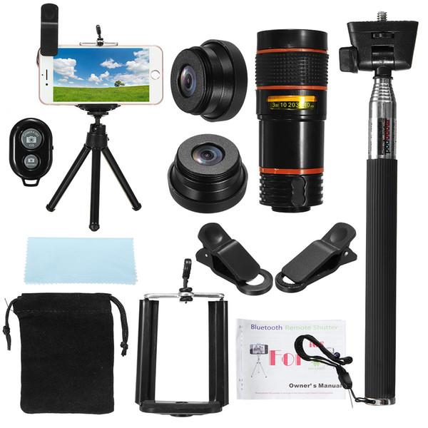 All in 1 Mobile Phone Camera Lens Telescope Universal Selfie Stick 8x Zoom Telescope Tripod Fisheye Lens Monopod for Travel Kit