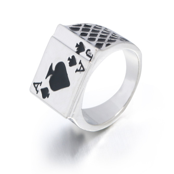 LASPERAL 2018 Men's Ring Vintage Personality Spades A Heart Shaped Poker Rings For Men Jewelry Silver Color male Ring