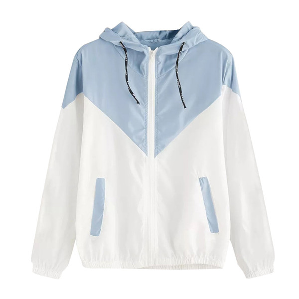 Sport Running Thin Coat For Female Long Sleeve Patchwork Hooded Zipper Pockets Casual Outdoor Wear Jackets For Ladies 2019