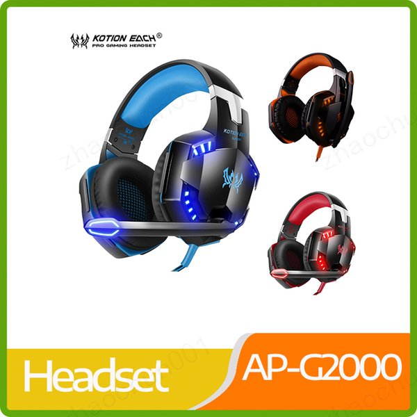 top popular Gaming Headphones Stereo Noise Cancelling Headsets Studio Headband Microphone Earphones With Light For Computer PC Gamer EACH G2000 2019