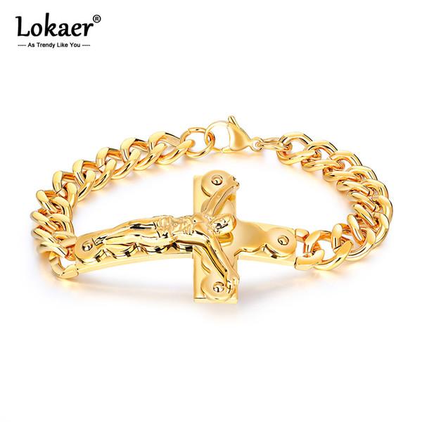 wholesale Religious Titanium Steel Men's Bracelets Bangles Classic Jesus Cross Chain & Link Bracelet Drop Shipping Pulsera OGS972