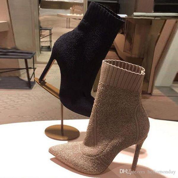 Bottes Hlaf à talons hauts pour femmes, talons hauts 6-8CM Bottillons en laine semblables à des chaussettes Bottes tricotées à la mode pour dames