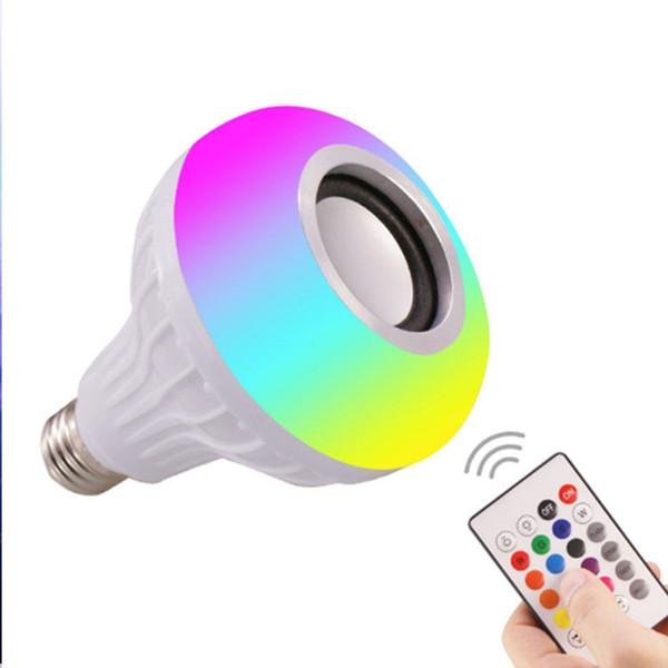 HOT E27 Smart LED Lumière RGB Sans fil Bluetooth Haut-parleurs Ampoule Lampe Musique Jouer Dimmable 12 W Lecteur de musique Audio avec 24 touches Télécommande
