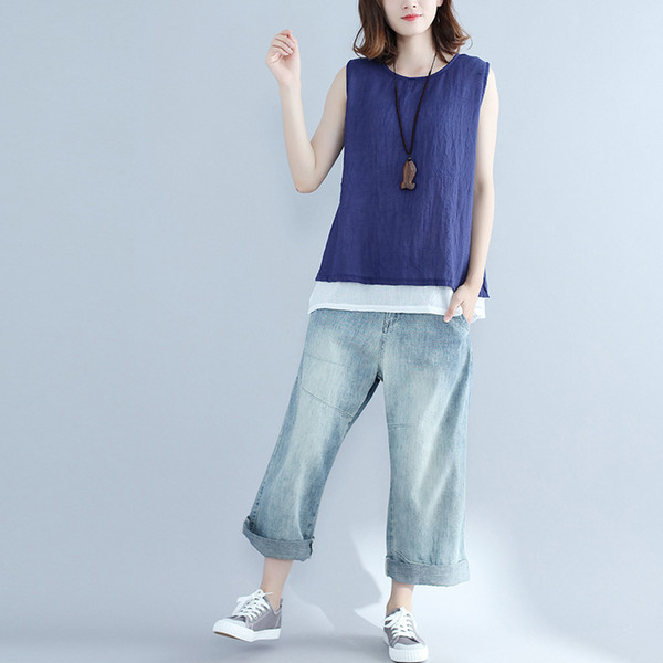Summer Loose Simple Solid Vest Top Femme Loose Patchwork Hem Comfy Cotton Linen Sleeveless Shirt Woman Leisure Tank Tops Y19042801