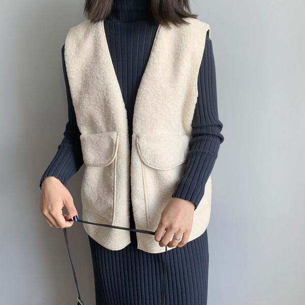 women fashion elegant lady pocket coat sleeveless vests jacket outwear casual lambswool open stitch waistcoats colete feminino