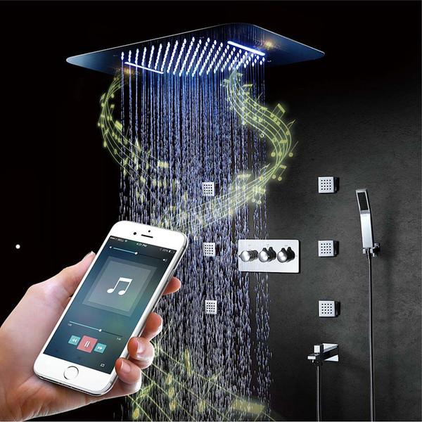 Modern Müzik Showerhead Set LED Tavan Tavan Yağış Şelale Masaj Vücut Jetleri Set Sıcak Ve Soğuk Karıştırma Vanası Bluetooth