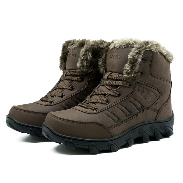 Men Winter Boots 2019 Top Quality Leather Hunting Snow Boots Men Boots Cow Leather Shoes Super Warm Winter Shoes Big Size 39-48